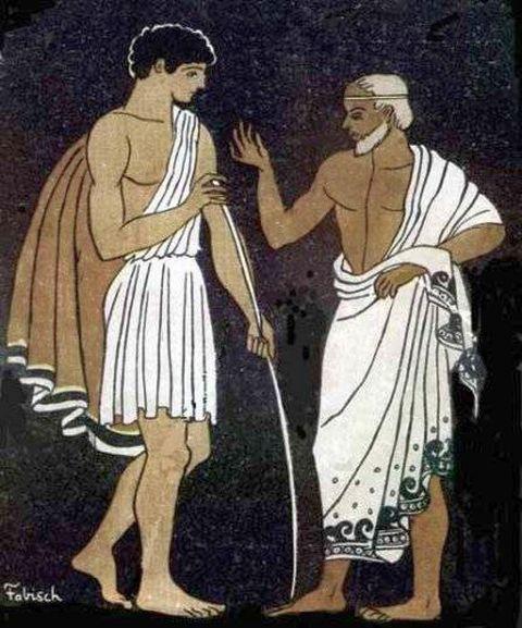 Ментор дава акъл на младия Одисей